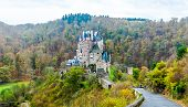 pic of moselle  - Burg Eltz Castle is a towering medieval structure located in a lush forest in the Lower Moselle Valley near Koblenz - JPG