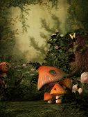 image of fairy-mushroom  - Fantasy image with mushroom and stump in the forest - JPG