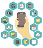 image of hexagon  - Conceptual illustration of a mobile phone with icons of different types of applications in hexagons - JPG