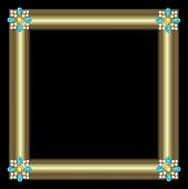 stock photo of brooch  - Golden frame with brooch jewelry on black background - JPG