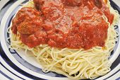 stock photo of meatball  - Large Serving of Spaghetti and Meatballs with Tomato Sauce - JPG