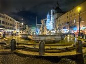foto of poseidon  - Poseidon fountain Navona square in Rome Italy - JPG