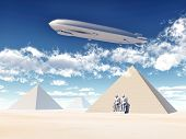 Egyptian Pyramids and Airship