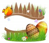 picture of bird fence  - Bird and Easter eggs on a wooden fence background - JPG