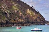 stock photo of sark  - Coastal scene on Sark Lighthouse , channel islands