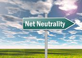 image of neutral  - Signpost Image with Net Neutrality related wording - JPG