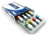 Health concept. Vitamin pills in box. 3d