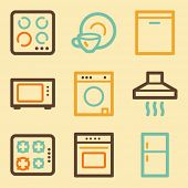 Home appliances web icons set in retro style