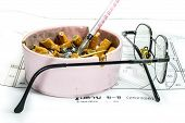 image of opiate  - Ashtray syringe and glasses white blueprint background representing stress in work concept - JPG
