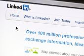 Ostersund, Sweden - July 24, 2011:Close up of Linkedin's main page on a web browser. Linkedin is a b