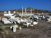 stock photo of phallus  - Architecture and details of historic city Delos near Mykonos Greece - JPG