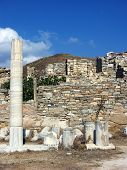 picture of phallus  - Antic Stone Columns and Pillars in island Delos near the Mykonos - JPG