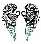 stock photo of falcon  - Tattoo vector wings - JPG