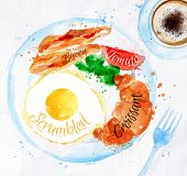 stock photo of butter-lettuce  - Breakfast painted with watercolors on a plate eggs bacon lettuce tomato a cup of coffee with a fork - JPG