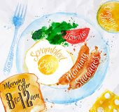 stock photo of french toast  - Breakfast painted with watercolors on a plate eggs sausage tomato salad fork a glass of juice - JPG