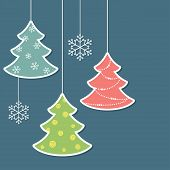 stock photo of adornment  - Christmas trees and snowflakes in paper cutout style - JPG