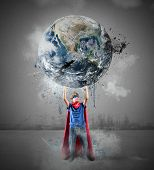 pic of save earth  - Little superhero saves the world - JPG