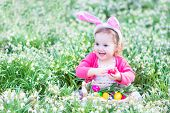 picture of ear  - Adorable toddler girl wearing bunny ears playing with Easter eggs in a white basket sitting in a sunny garden with first white spring flowers - JPG