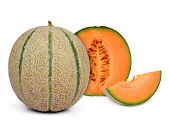 stock photo of cantaloupe  - orange cantaloupe melon isolated on white background - JPG
