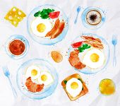 stock photo of butter-lettuce  - Breakfasts painted watercolor set on a plate eggs bacon lettuce tomato a cup of coffee with a fork - JPG
