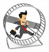 stock photo of hamster  - 3d generated picture of a businessman inside a hamster wheel - JPG