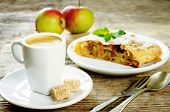 foto of coffee coffee plant  - cup espresso coffee with cane sugar and apple strudel on a dark wood background - JPG
