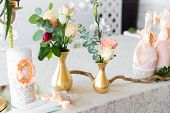 image of wedding feast  - Floral arrangement to decorate the wedding feast the bride and groom - JPG