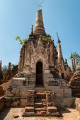 image of shan  - Ruins of ancient Burmese Buddhist pagodas in the village of Indein on Inlay Lake in Shan State Myanmar  - JPG