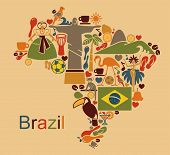 image of samba  - Map from traditional symbols of culture and the nature of Brazil - JPG