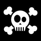 image of skull cross bones  - vector skull with crossed bones on black - JPG
