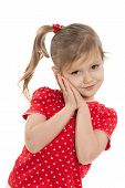 picture of shy girl  - A portrait of a shy little girl on the white background - JPG