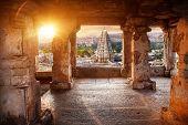 picture of karnataka  - Virupaksha temple view from the Hemakuta hill at sunset in Hampi Karnataka India - JPG