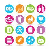 foto of trash truck  - set of 16 trash icons in colorful round buttons - JPG