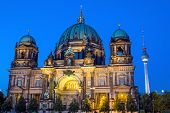 stock photo of dom  - The landmarks Dom and TV Tower in Berlin at night - JPG
