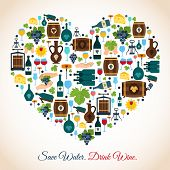 picture of save water  - Drink wine save water decorative icons heart vector illustration - JPG