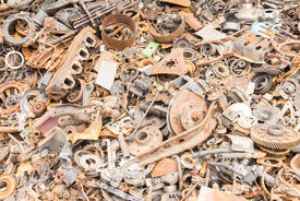 stock photo of scrap-iron  - scrap iron unused rubble remnant of iron texture background - JPG