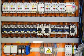 stock photo of breaker  - Control panel with static energy meters and circuit - JPG