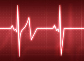 stock photo of beating-heart  - A medical background with a heart beat  - JPG
