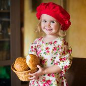 pic of french beret  - beautiful smiling little blonde girl in red beret with french bread - JPG