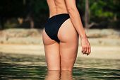 pic of derriere  - Rear of a sexy young woman wearing a bikini on a tropical beach - JPG