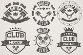 pic of motor vehicles  - Set of Vintage Motor Club Signs and Label with chain and pistons - JPG