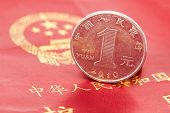 image of yuan  - Chinese one yuan coin against the background of the Chinese passport - JPG