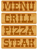 stock photo of nameplates  - Nameplate of wood with words Menu Grill Steak Pizza - JPG