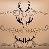 foto of antlers  - vector illustration silhouettes of deer antlers with arrows - JPG