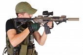 stock photo of m4  - mercenary with m4 rifle isolated on white - JPG