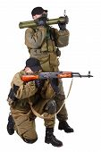 picture of ak 47  - mercenaries with AK 47 and rocket launcher isolated on white background - JPG