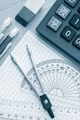 stock photo of science  - School supplies used in math  - JPG