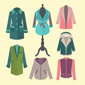 stock photo of outerwear  - Fashion collection of spring and Autumn woman outerwear  - JPG