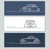 picture of car symbol  - Set of vintage car silhouettes - JPG