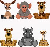 image of alligator baby  - Vector illustration set of funny exotic animals - JPG